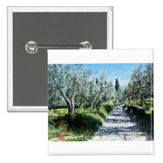 OLIVE TREES IN TUSCANY 15 CM SQUARE BADGE