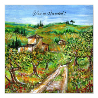 OLIVE TREES IN TUSCANY,yellow green white Card