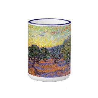 Olive Trees, Orange Sky  Van Gogh Vincent Coffee Mugs