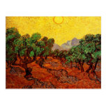 Olive Trees with Yellow Sky and Sun Van Gogh Postcard