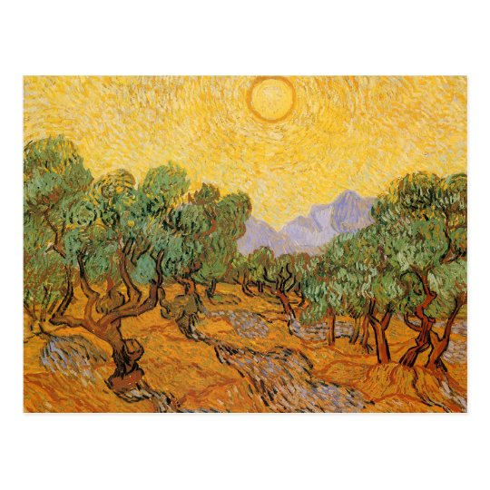 Olive Trees, Yellow Sky and Sun, Vincent van Gogh Postcard