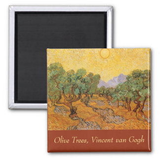 Olive Trees, Yellow Sky and Sun, Vincent van Gogh Square Magnet