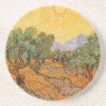 Olive Trees Yellow Sky Sun, van Gogh, Vintage Art Coaster