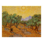 Olive Trees Yellow Sky Sun, van Gogh, Vintage Art Poster