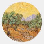 Olive Trees Yellow Sky Sun, van Gogh, Vintage Art Round Sticker