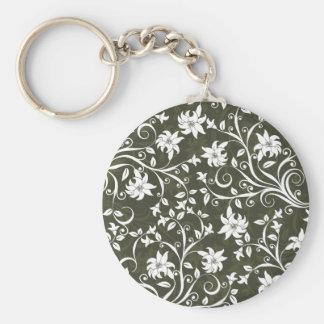 Olive Trumpetflower Floral Pattern Key Ring