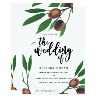 olive tuscan laurel modern wedding invitation