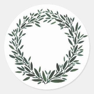 Olive Wreath Sticker Round Sticker