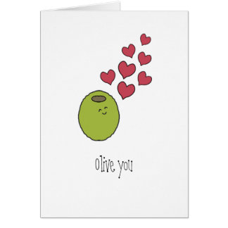 """Olive You"" Blank Greeting Card"