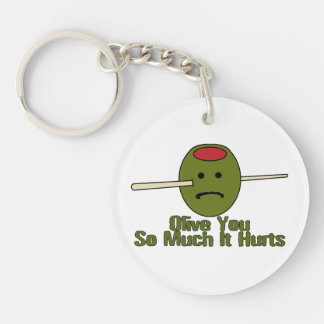 Olive You So Much It Hurts Double-Sided Round Acrylic Key Ring