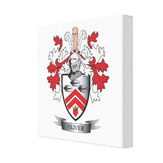 Oliver Family Crest Coat of Arms Canvas Print