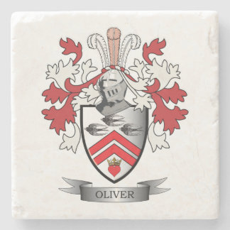 Oliver Family Crest Coat of Arms Stone Coaster