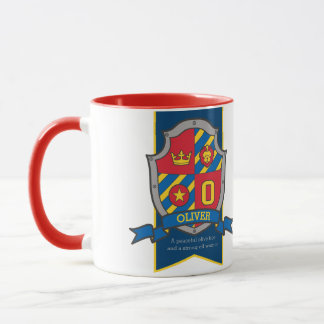 Oliver knight shield red blue name meaning mug