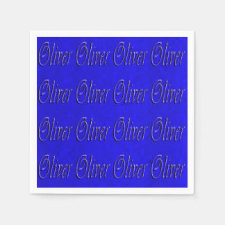 Oliver, Name, Logo, Blue Party Napkins Disposable Serviette