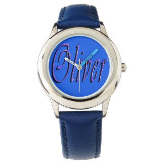 Oliver, Name, Logo, Boys Blue Leather Watch