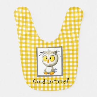 Oliver Owl Baby Bib Yellow Gray White