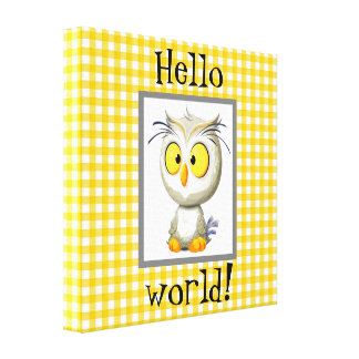 Oliver Owl Baby Blanket Yellow Gray White Canvas Print