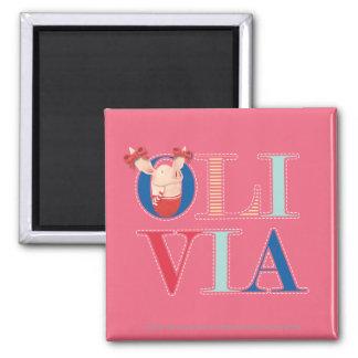 Olivia - 3 square magnet