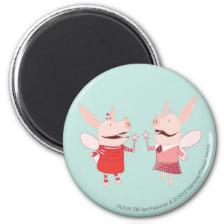 Olivia and Francine - Fairy 6 Cm Round Magnet