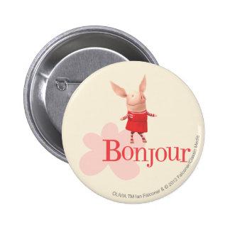 Olivia - Bonjour 6 Cm Round Badge