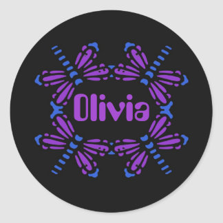 Olivia, dragonflies in blue & purple on black classic round sticker