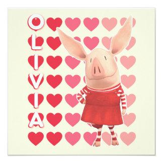 Olivia - Heart Background 13 Cm X 13 Cm Square Invitation Card