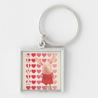 Olivia - Heart Background Silver-Colored Square Key Ring