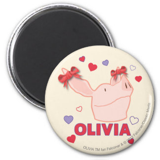 Olivia - Hearts 6 Cm Round Magnet