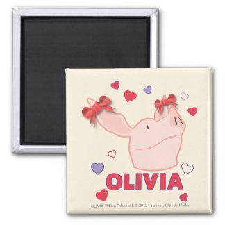 Olivia - Hearts Square Magnet