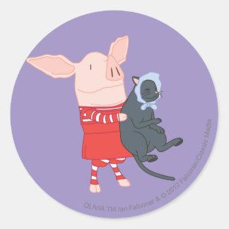 Olivia Holding Edwin the Cat Round Sticker