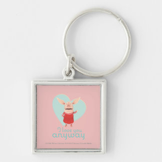 Olivia - I Love You Anyway Silver-Colored Square Key Ring