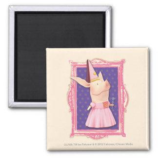 Olivia in Pink Frame Square Magnet