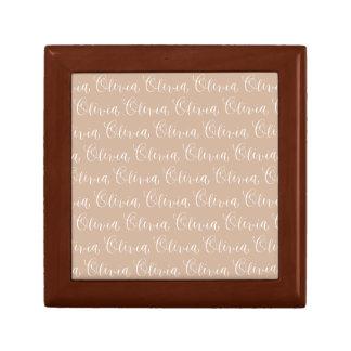 Olivia - Modern Calligraphy Name Design Small Square Gift Box