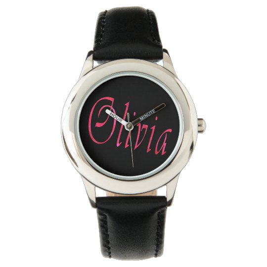 Olivia, Name, Logo, Girls Black Leather Watch. Watch