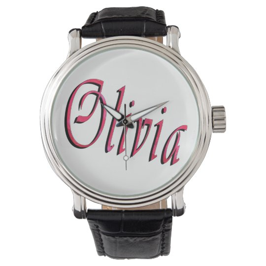 Olivia, Name, Logo, Large Black Leather Watch. Wristwatches