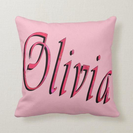 Olivia, Name, Logo, Pink Throw Cushion. Throw Pillow