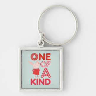 Olivia - One of a Kind Silver-Colored Square Key Ring