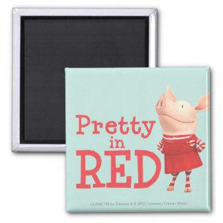 Olivia - Pretty in Red Square Magnet