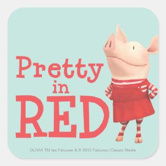 Olivia - Pretty in Red Square Sticker