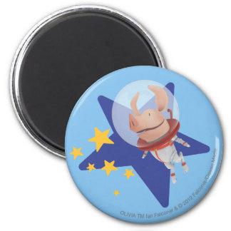Olivia the Astronaut 6 Cm Round Magnet