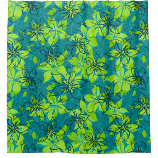 Olowalu Hibiscus Hawaiian Camo Shower Curtain