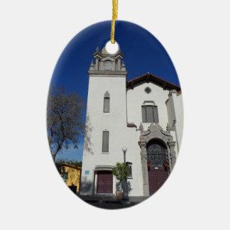 Olvera Street Church- Los Angeles Ceramic Oval Decoration