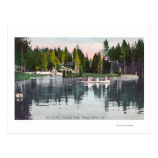 Olympia Park View of the Pond, Rowboat Scene Postcard