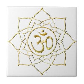 OM AUM ॐ Lotus Ceramic Tile