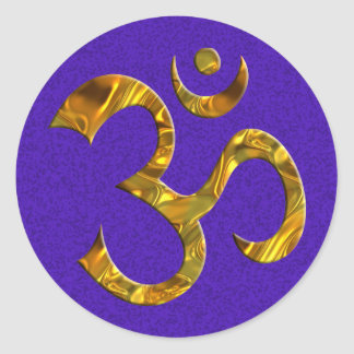 OM / AUM - GOLD | violet splatter Sticker