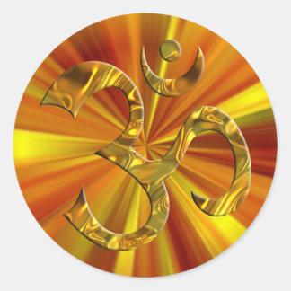 OM / AUM - GOLD | yellow zoom Round Sticker