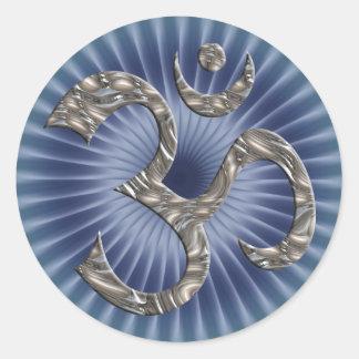 OM / AUM - SILVER | blue shine Stickers