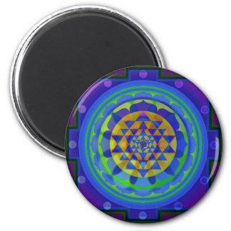 Om (AUM) Yantra mandala 6 Cm Round Magnet