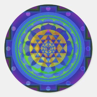 Om (AUM) Yantra mandala Round Sticker