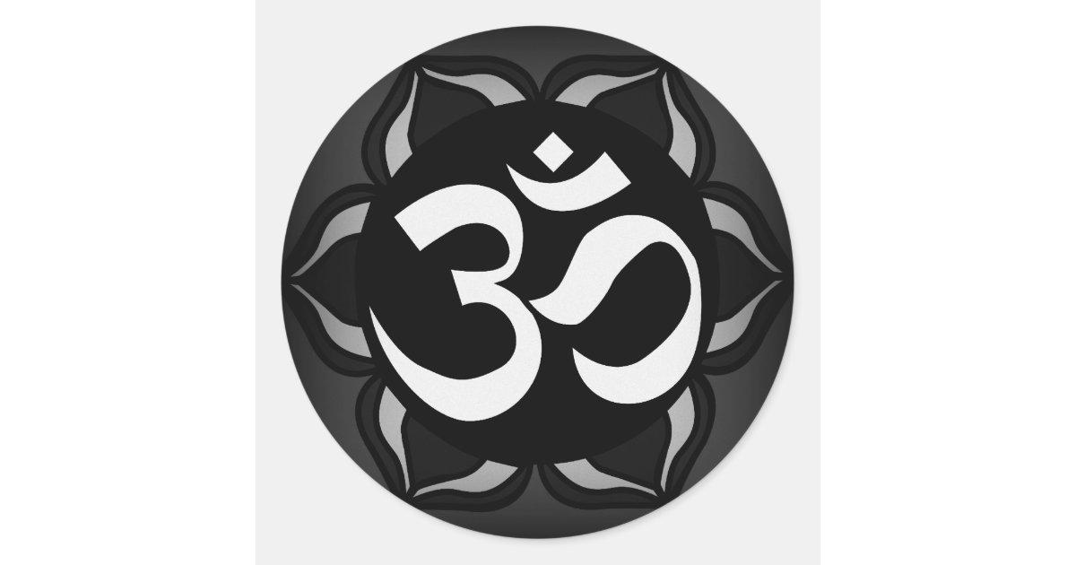 Om Black White Peace Symbol Classic Round Sticker Zazzle
